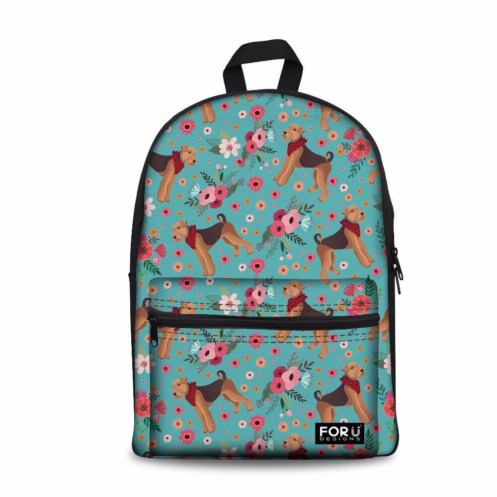 Customized Airedale Terrier Printing Backpack Women Canvas Schoolbag For Teen Girls School Bagpack Feminine Travel Shoulder Bag