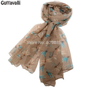 Guttavalli New Cute Women Dragonfly Long Shawl Nice Winter Print Animal Chevron Scarves Female Stripe Autumn Warm Soft Scarf