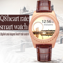 สวมใส่อุปกรณ์บลูทูธsmart watch q8 h eart rate monitorโบราณs mart w atch pedometerโทรออกนาฬิกาข้อมือสำหรับa ndroid ios