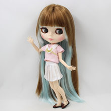 Factory Neo Blythe Doll Light blue Mix Blonde Straight Hair Jointed Body 30cma