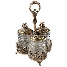 Европейский стиль стекла с медной бак творческий хранения роскошная вилла украшения украшения Домашнего Интерьера