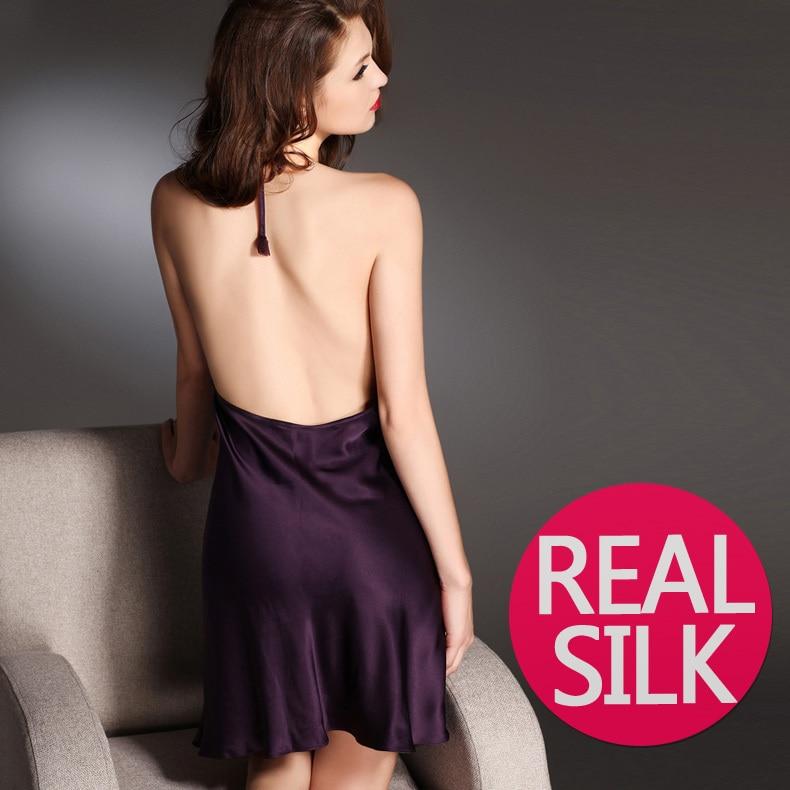 100 pure silk nightgowns women Sexy sleepwear Home dresses SILK nightdress SATIN nightie Summer style purple