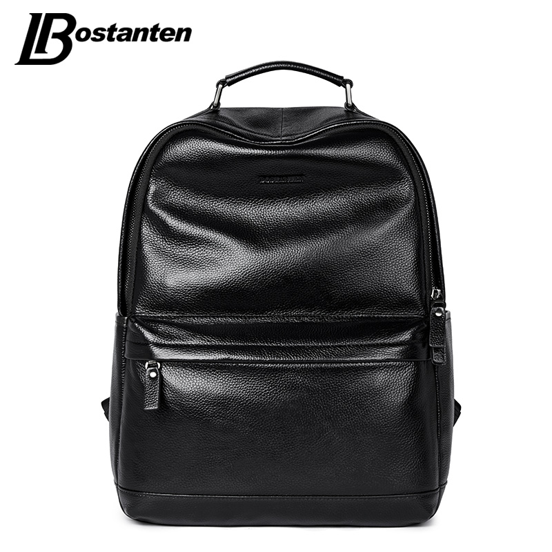 BOSTANTEN New Male Backpack Large Travel Backpack For Teenagers Cow Genuine Leather Backpack Men Leisure Bag Men Laptop Backpack men backpack leather fashion real cow leather backpack for men leisure men genuine leather 14 laptop backpack safe back zipper