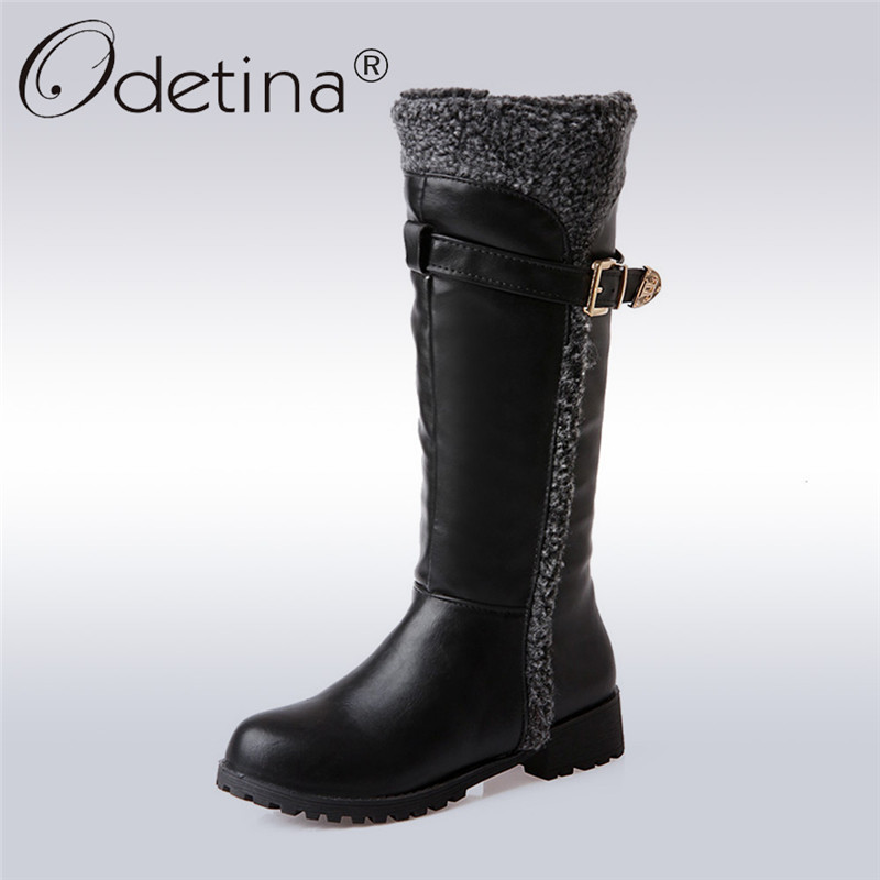 купить Odetina 2017 Fashion Womens Equestrian Riding Boots Buckle Low Heel Snow Mid Calf Boots Winter Warm Plush Fur Shoes Big Size 44 дешево