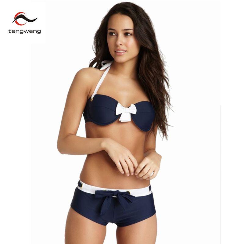 2017 D'été Femmes Sexy Bleu Push Up Bikini Halter Deux Pièces Tankini Maillot de Bain Arc Cravate Maillots De Bain Sport Maillot de Bain Shorts Brésiliens