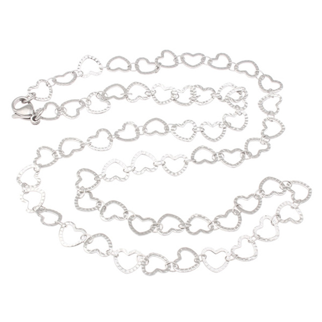 YYW Factory Price Steel Stainless Steel Chain Necklace Small Heart to Heart Charm Chain Pendant Choker Necklace Lovers Womens
