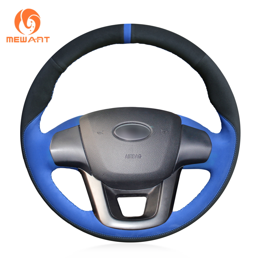 MEWANT Black Suede Blue Suede Leather Suede Car Steering Wheel Cover for Kia K2 Kia Rio 2011 2012 2013 юбка one teaspoon 19545a blue suede