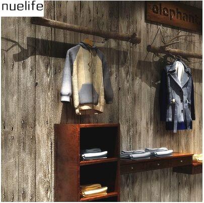 Dames Kleding Winkel.0 53x10 M Retro Nostalgische Oude Behang Antieke Houten Board Bar