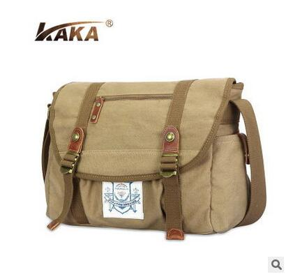 ФОТО 2016 KAKA Men's Bags Messenger Bags Brand Designer Men Canvas Satchels Crossbody Shoulder Bags For Men Vintage Style Male Bags