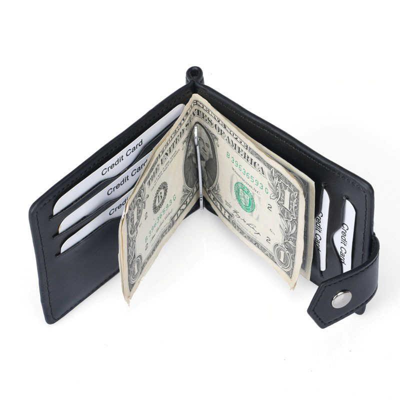 Clip de dinero DANJUE para hombres, Cartera de tarjeta de crédito para negocios, Cartera de cuero ultradelgada para caballero, Clip para monedero con bloqueo Rfid
