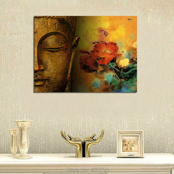 Buddha Canvas Wall Art Unframed Large Size Merciful Buddha Handmade Oil Painting Wall Art 24x32inches Water-proof