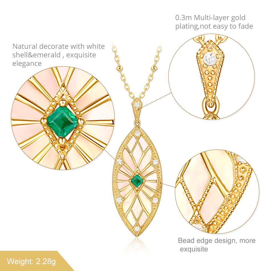 ALLNOEL Sweater Chain Long Necklaces Pendants For Women Handmade Costume Accessories Natural Emerald Stone Leaf Pendant Necklace (4)