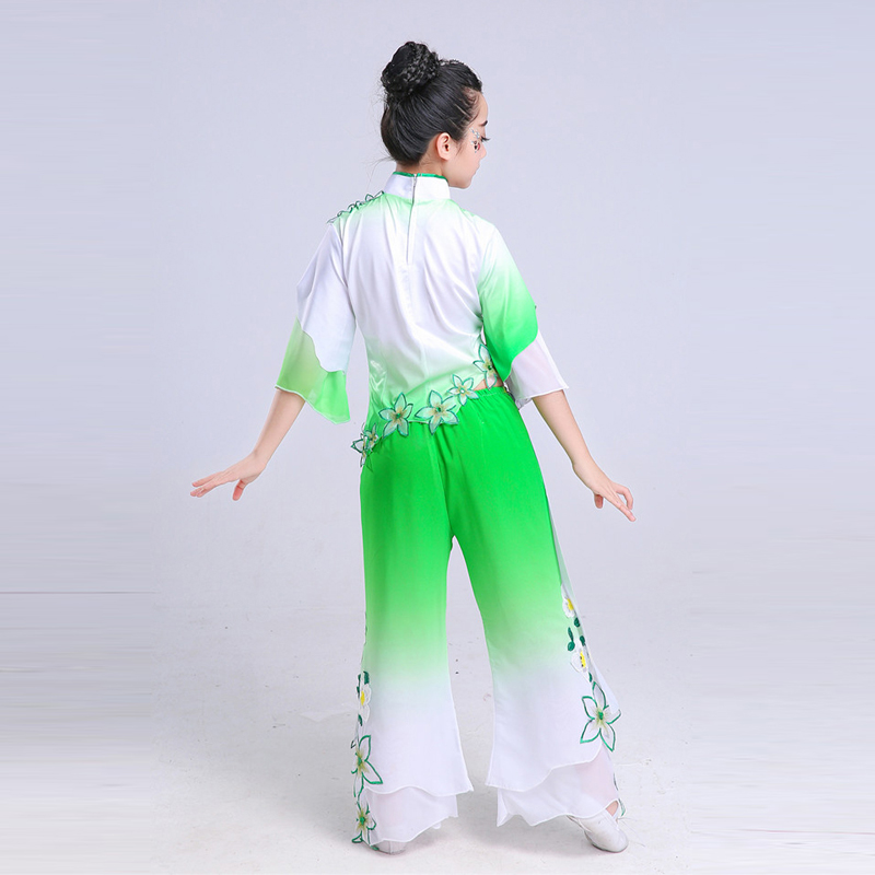Chinese Classic Folk Dance Costume for Girl Yangko Dancing Dress Waist Drum Clothing Children Traditional Fan Dance Costumes in Chinese Folk Dance from Novelty Special Use