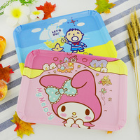 Dishes Plates Tray Lovely Character Melamine Tray Wood Anti Skid Tray Kitty Doraemon Cartoon Tray For