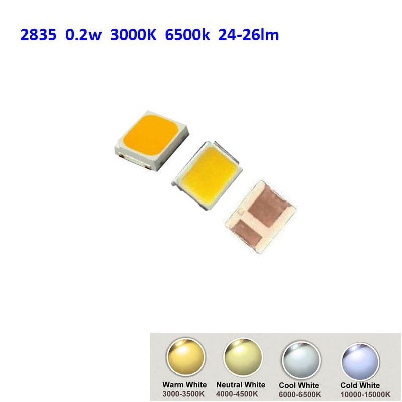 500pcs Smd Led 2835 White Chip 0 2w 3v 60ma 24 26lm Ultra Bright Smt 0 2 W Watt Surface Mount