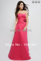 Free Shipping Hot 2013 Red Satin Vestidos De Fiesta Rhinestone Bridal Belt Fashion Long Dress Party