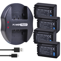 4Pc 1950mAh VW-VBT190 VW-VBT380 VBT190 Bateria e Carregador para Panasonic HC-V720  HC-V727  HC-V730  HC-V750  HC-V757  HC-V760  HC-V770