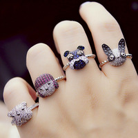 Luxury 18K White Gold Plated Panda Or Pet Dog Ring With Tiny CZ Diamond Cluster Studded
