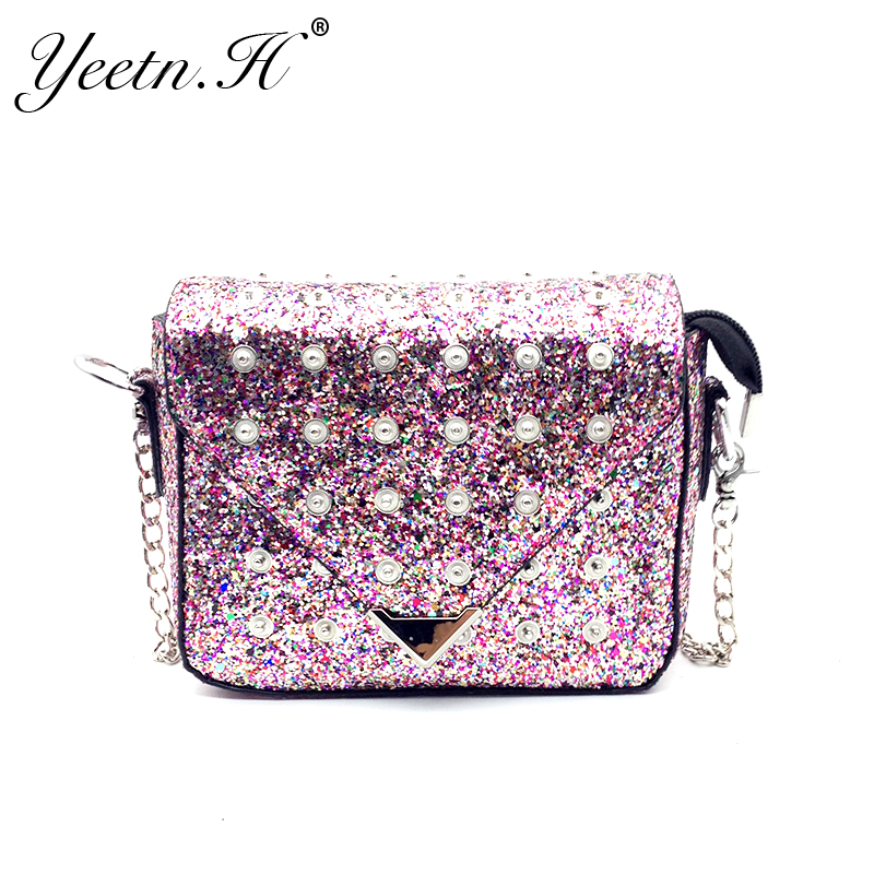 2017 New Arrival Fashion Woman Bag Button Sequins Shoulder Bags Hasp Crossbody b