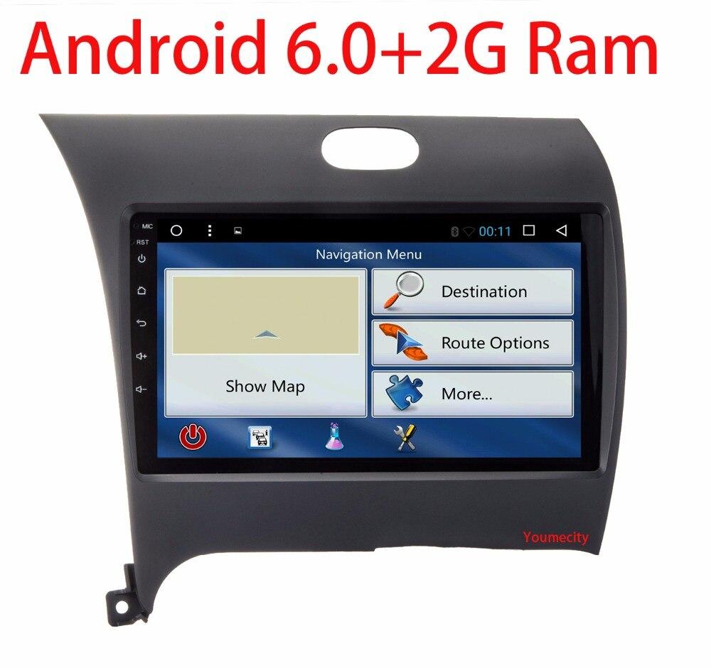 imágenes para ¡ NUEVO!! 2G RAM Android 6.0 2 DIN Coche DVD GPS para Kia CERATO FORTE 2013 K3 2014 2015 2016 jefe unidad de radio reproductor de vídeo wifi 1024*600