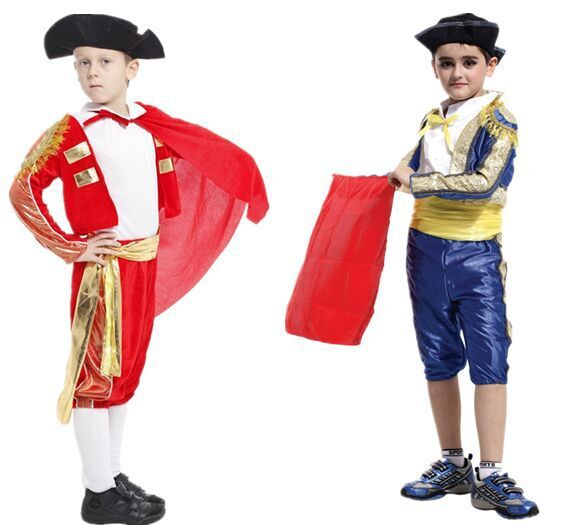 Kids Halloween Cosplay Masquerade Costume Childrens Matador Clothes Mens Bullfight Spanish Bullfight Dress For Boy Girl