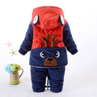 Baby Cute Beer Winter Down Clothing Set Boy Girl Hooded Jacket Coat Pants Popular Clothes Red