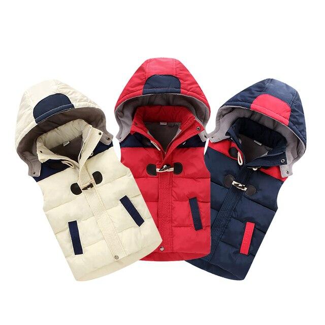 63d8d2068 Winter Cotton Down Children Vest Boys Thicker Warm Removable Hooded ...
