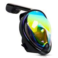 LGFM Full Face Snorkeling Masks Panoramic View Anti fog Anti Leak Swimming Snorkel Scuba Underwater Diving Mask GoPro Compatib