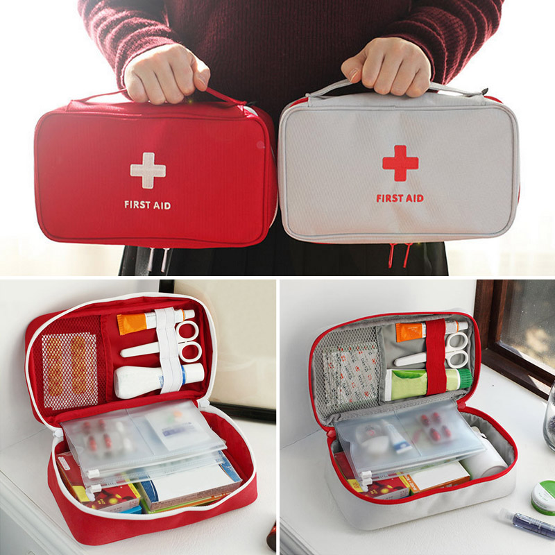 Portable Red White Red Cross Pattern First Aid Pouch Medicine Kit Candy Bags Traveling Storage Bags