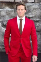 New Designer Casual Slim Fit Red Men Suits Custom Made High Quality Two Buttons Wedding Suits