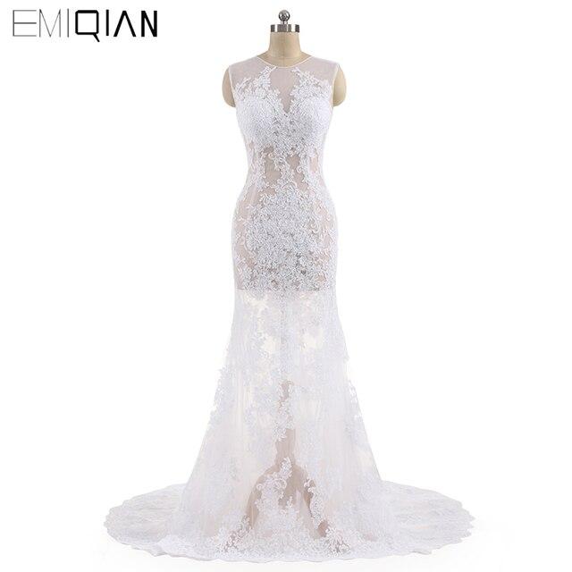 Designer Sexy See-through Mermaid Lace Bridal Wedding Dresses Vestido De Noiva