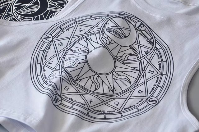 New Womens Tanks Loose Gothic Symbols Moon Sun Printing Crop Top Cropped Top Sleeveless Camis Tank Top 4