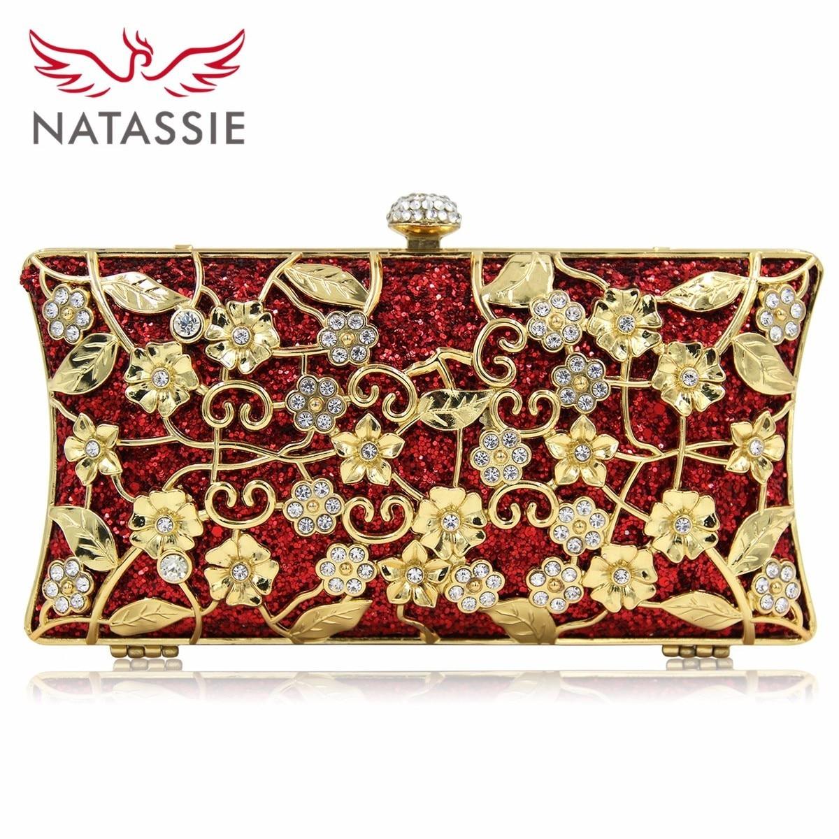 Natassie 2017 New Fashion Women Metal Gold Flower Pattern Party Bags Hard Case Evening Clutch Purses With Diamond Closure fawziya evening bags kisslock purses hard case clutch evening party bags