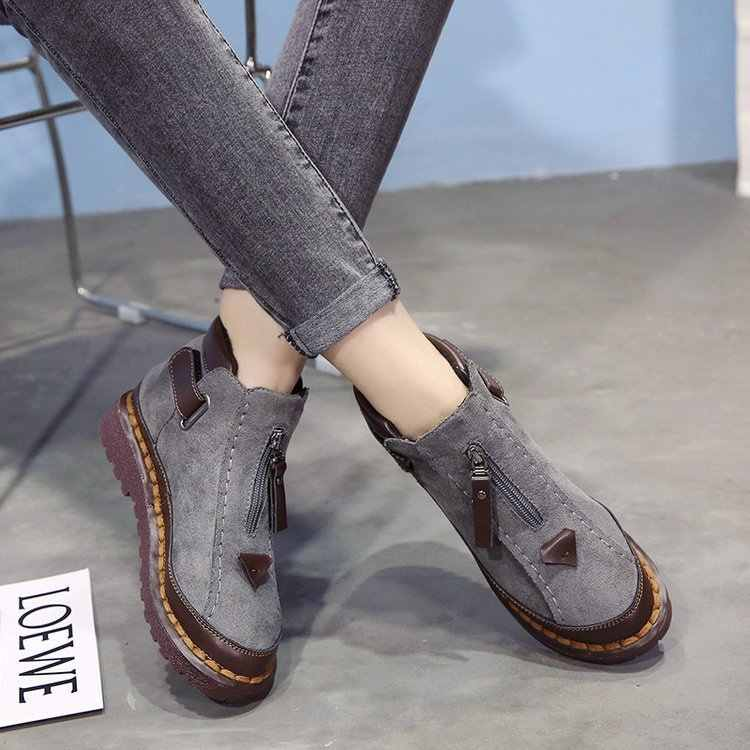 2018 Sıcak Kürk Kadın Kar Botları Çizmeler Düz Platformu Kış Ayakkabı yarım çizmeler Kadın Moda Kaymaz Temel Kar rahat ayakkabılar