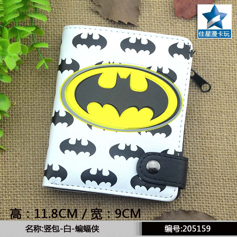 American Super Hero Batman PU Short Zero Wallet/ Coin Purse with Interior Zipper Pocket striped pu zero wallet japanese mascot kumamon coin purse with interior zipper pocket
