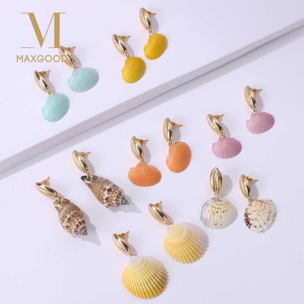 Bohemian Colorful Shell Drop Earrings For Women Fashion Gold Color Metal Shell Statement pendientes Earrings Beach Jewelry Brinc