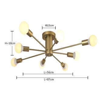 E27 Multiple Rod Wrought Iron Ceiling Lighting 110V 240V Indoor Lighting fixture LED Ceiling lamp kitchen home decor light
