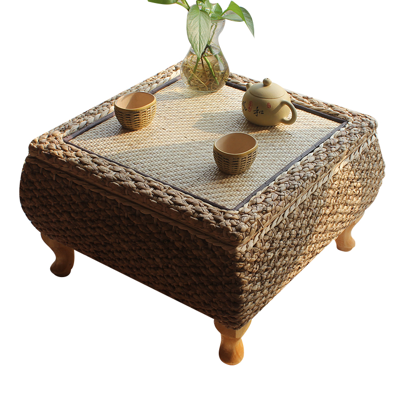 Handmade Rattan Tea Coffee Table With Storage Japanese Balcony Bay Window Learning Study Table For Living Room Furniture Tatami
