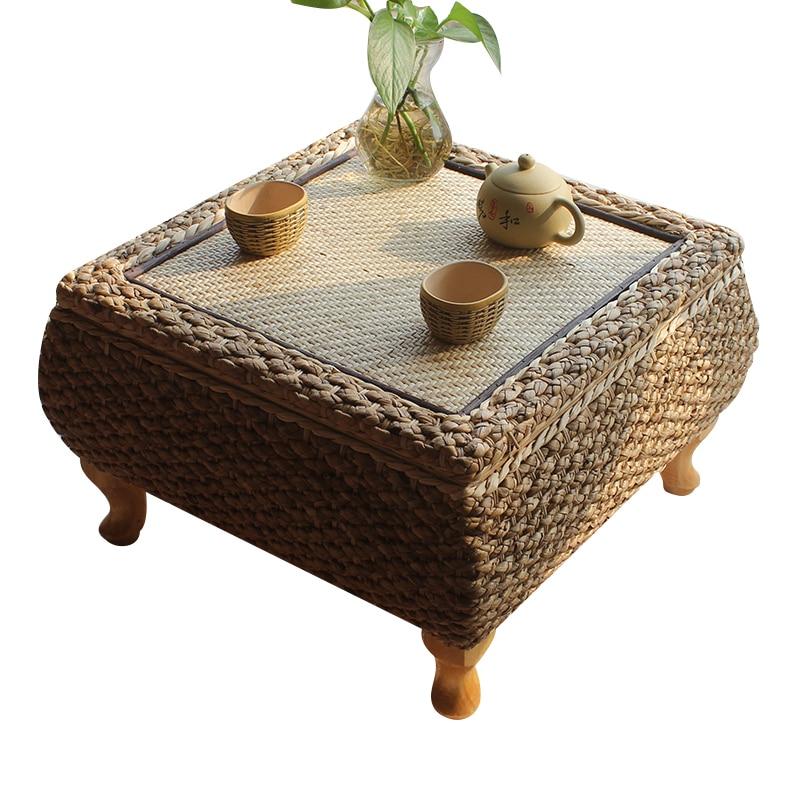 Handmade Rattan Tea Coffee Table With Storage Japanese Balcony Bay Window Learning Study Table For Living Room Furniture Tatami