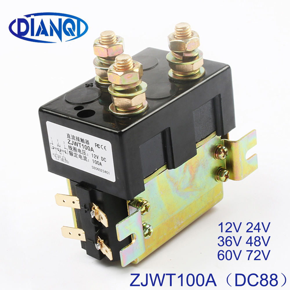 DIANQI DC88 2NO+2NC 12V 24V 36V 48V 60V 72V DC Contactor ZJWT100A for motor forklift handling drawing grab wehicle car winchDIANQI DC88 2NO+2NC 12V 24V 36V 48V 60V 72V DC Contactor ZJWT100A for motor forklift handling drawing grab wehicle car winch