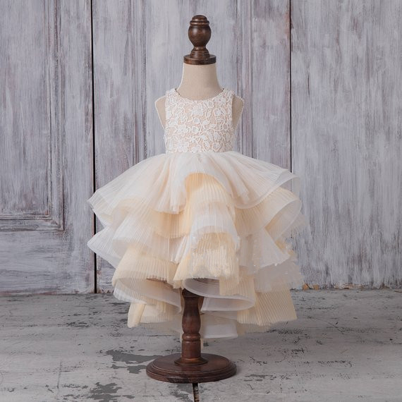 Flower Girl Dress Ivory White Lace Girls Dress High Low Beige Tulle Round Neck Ruffle Baby Party Dress Custom Made shein eyelet crochet lace detail frill trim dress 2018 summer round neck butterfly sleeve dress women pink elegant ruffle dress