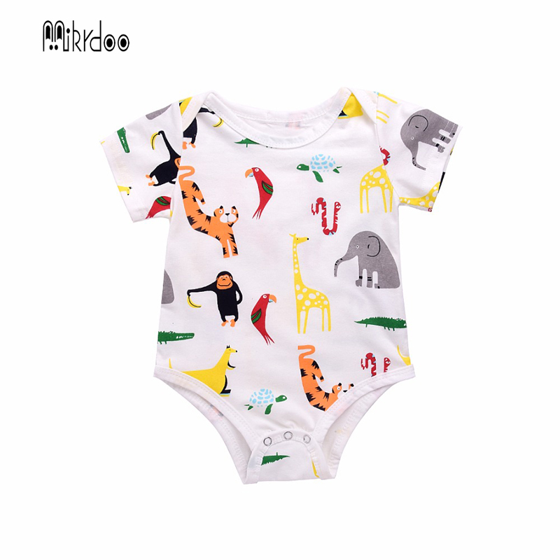Mikrdoo Baby Cute Rompers Kid's Boy Girl Animal Deer Monkey Printed Cotton Romper Short Sleeve O-Neck 0-18M Newborn Top Clothes baby rompers o neck 100
