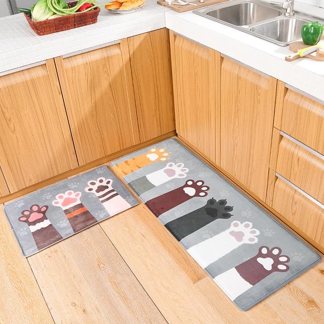 Kitchen Mat Cat Claw Printed Mats For 4 Sizes Carpet Soft Children