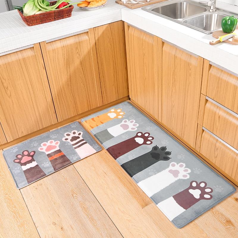 Kitchen Mat For Floor Soft Kitchen Carpet Kitchen Rug 4 Sizes Carpet Cooking Mats For Children Room Floor Mat Cat Claw Printed