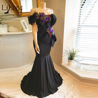 Colorful Embroidery Mermaid Long Prom Dresses 2018 Sexy Black Prom Gowns Off Shoulder With Bow 3D Flower Elastic Vestido Longo