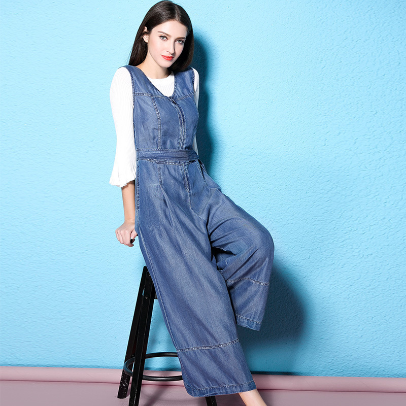 2018 Spring and Autumn new fashioned ankle length wide leg pants culottes denim jumpsuit for women NW17B1034 1 in Jumpsuits from Women 39 s Clothing