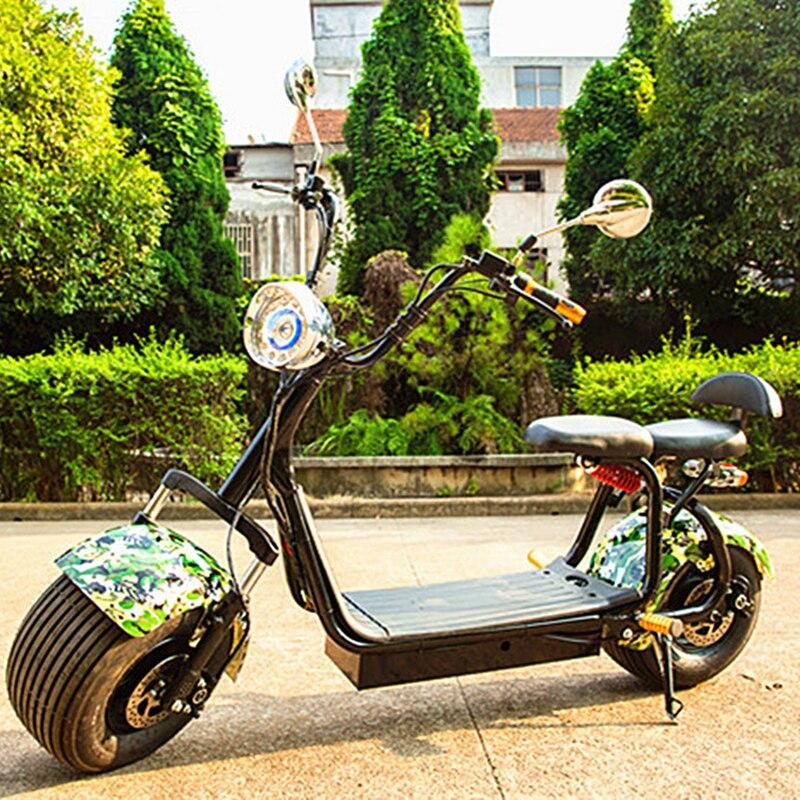 Adultes scooter électrique Citycoco 2 roues Lithium 60 V avant arrière Absorption des chocs Double siège moto 1000 W 9.5 pouces Citycoc