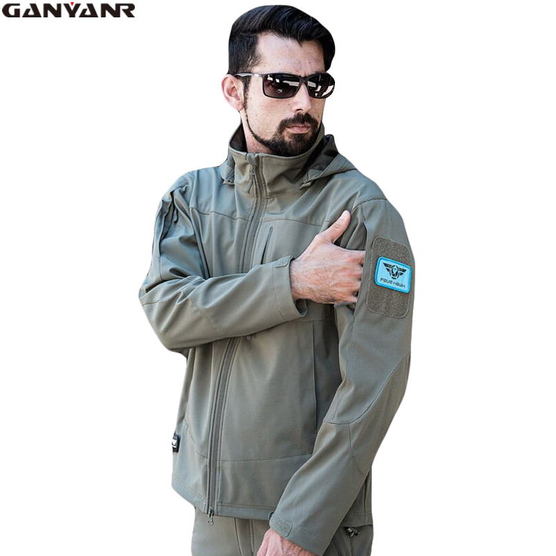 GANYANR Brand Hiking Jacket Men Rain Hunting Softshell Outdoor Winter Waterproof Clothing Windstopper Sports Polyester Ski