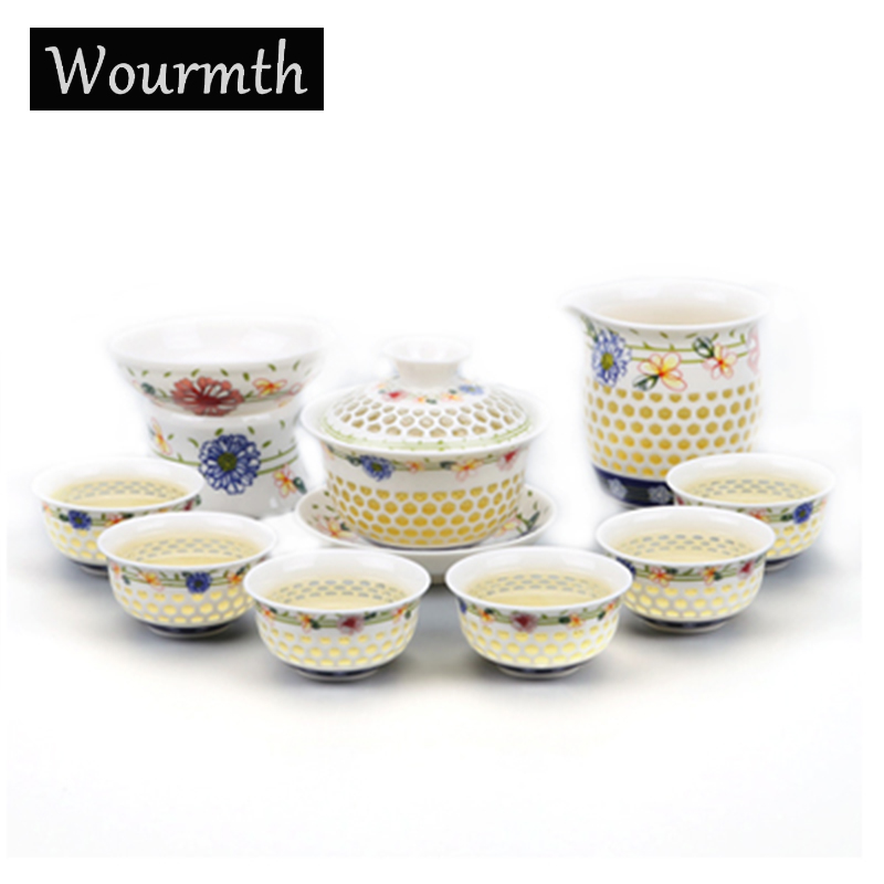 Wourmth drinkware coffee and tea sets,blue-and-white ceramic teapot kettle gaiwan tea cup for puer chinese kung fu tea set