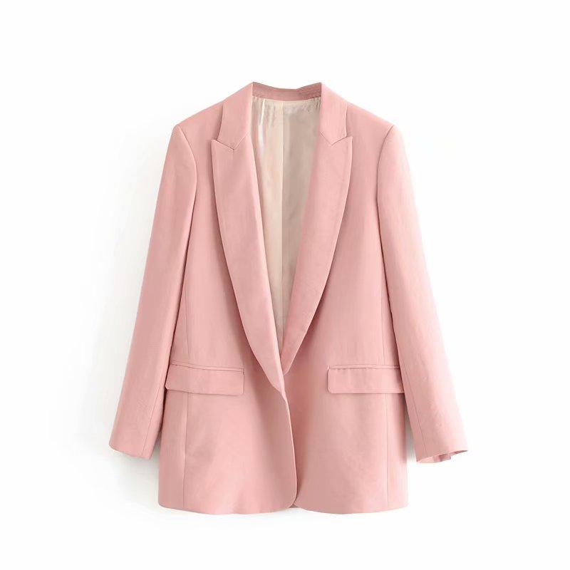 2019 Fashion Autumn Women Blazers Elegant Ladies Pink Linen Open Stitch Office-Wear Blazer Coats Casual Casaco Femme